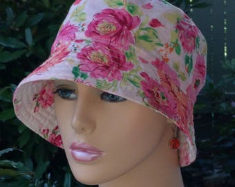 Women's Cancer Hat Bucket Hat Alopecia Hat Reversible Made in the USA . LARGE