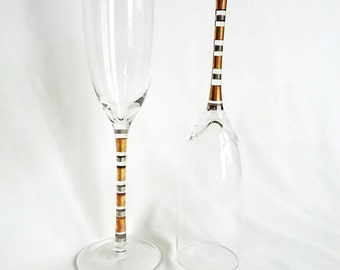 Vintage Silver and Gold Banded Champagne Flutes (Set of 2)