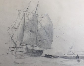 Antique original nautical pencil sketch picture of yacht boat ship sea sailing dated 1845