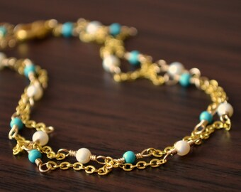 Real Turquoise Anklet, Gold or Silver Plated, Genuine Freshwater Pearl, Double Strand, Dainty Jewelry, Delicate, Adjustable Length
