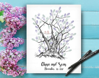 Wedding Keepsake, Wedding Guestbook Tree, Custom Hand Drawn Fingerprint Tree, Alternative Wedding Guest Book, Hand Lettered Font