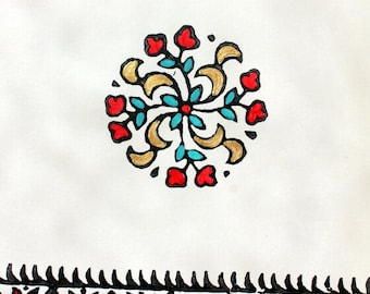 Block Printed Greeting Card, Indian Theme Card, Hand Painted Card- Round Floral Motif