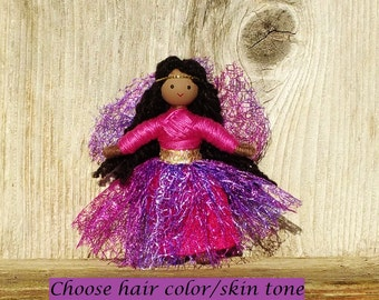 African American Fairy Doll - Fairy Doll -  Handmade Fairy - Purple - Pink - Black Fairy - Bendy Doll  - Dark skin Doll - Fairy Garden