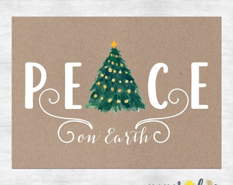 Peace on earth holiday cards / Christmas cards  / Christmas greeting cards / Holiday card set / printed cards