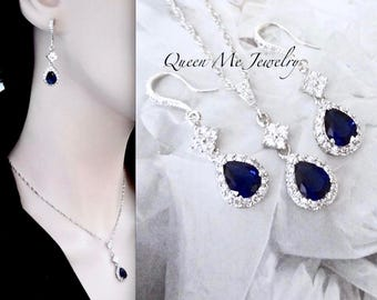 Blue Sapphire earrings and necklace set Cubic Zirconias Halo Something Blue Brides jewelry set Elegant Wedding Bridal Jewelry TIA