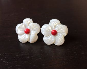 Crimson Cream Cherry Blossom Earrings in Red Coral and Mother of Pearl