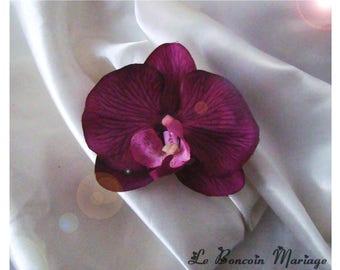 Purple, Eggplant artificial Orchid hair clip
