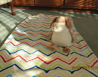 Baby Blanket with stuffed Dog-Chevron Stripes-Personalized