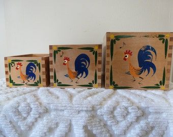 50's Nesting Boxes Rooster Vintage Kitchen Storage Canisters
