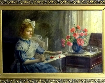 Rare ca.1921 French Interior Scene w/Girl Portrait Painting Oil/Canvas/Frame Signed