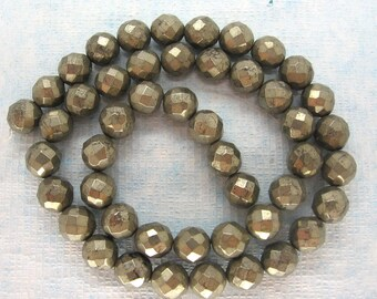 "Golden Pyrite Faceted Round Beads 8mm  - Full 15.5"" Strand"