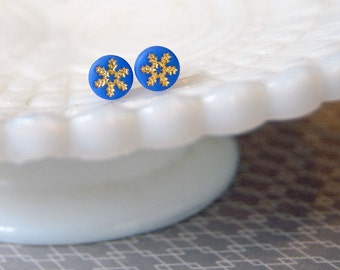tiny snowflakes vintage post earrings- gold foil- winter blue