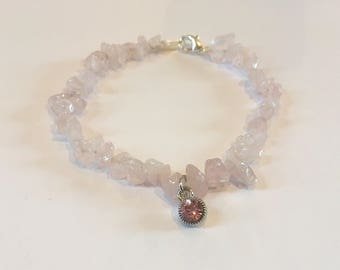 Pink rock bracelet with pink charm