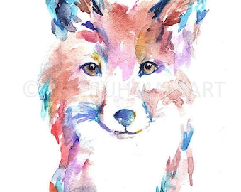 """Large Fox Poster, Poster of Fox, """"Farah the Fox"""" Poster, 18"""" x 24"""" Poster, Print of Fox, Fox Print, Nursery Art, Abstract Fox Art, Colorful"""