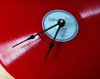Red Silvertone Vintage Vinyl Record Clock