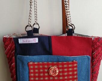 Cotton Shoulder bag with chains