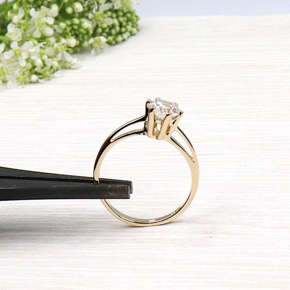 plated women ring gold solitaire