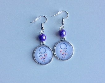 Silvery jokes dreams cabochons and purple beads earrings