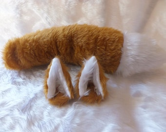 Light Ginger Brown Fox Wolf Furry Cosplay Set Ears on Hair Clips Wired Unwired Tail Kitsune Anime Halloween Costume Festival Fursuit