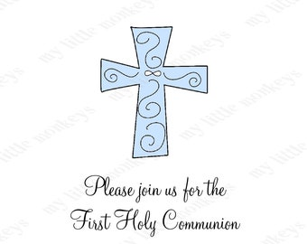 10 Cross Baptism Christening  Invitations with Envelopes.  Free Return Address Labels