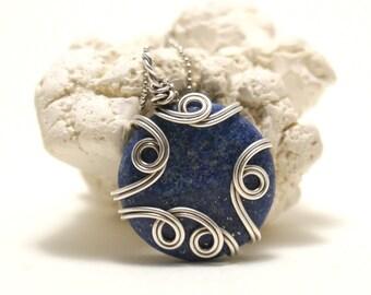 Wire Wrapped Pendant Lapis Lazuli Jewelry Wire Wrapped Jewelry Silver Necklace Lapis Necklace