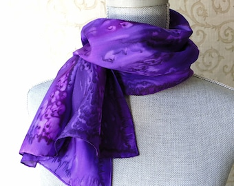 Silk Scarf Hand Dyed in Shades of Purple, Mother's Day Gift, Hand Painted by Ocean Avenue Silks, Gift Packaged and Ready to Ship