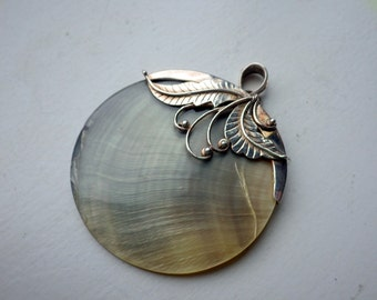 Shell with Sterling Silver Fitting - Pendant Disc  - Organic Design.