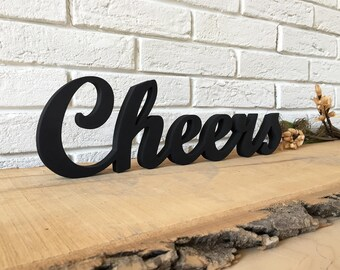 Rustic wood sign Cheers in Black, or any color from the chart. Kitchen decor, Restaurant sign, Bar sign, Wedding bar decoration