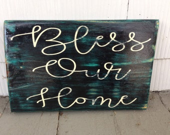 Bless Our Home Sign, Rustic Wooden Sign, Handmade Pallet Signs, Rustic Home Decor, Handmade Christmas Gifts, Gifts For Her, Gifts Under 20