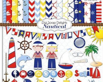 Nautical Digital Shower Clip Art, Birthday Scrapbook Kit,  Red, White, Blue Dolphin, Sail, Boat, Navy, Ships, Anchors, DIY Party