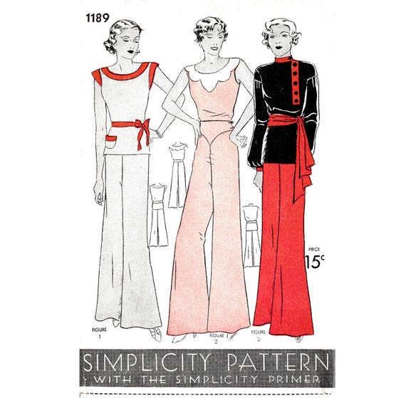 1930s Fashion Colors & Fabric 1930s 30s vintage sewing pattern reproduction // beach pajama jumpsuit // wide leg trousers // 3 styles // bust 32 34 36 38 401930s 30s vintage sewing pattern reproduction // beach pajama jumpsuit // wide leg trousers // 3 styles // bust 32 34 36 38 40  AT vintagedancer.com