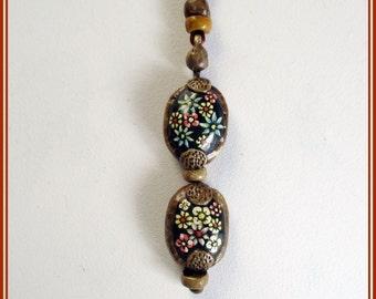 Colgante miniatura flores pintadas a mano, colgante boho hippie hecho a mano, collar amante flores, collar gipsy, regalo Navidad, collares.