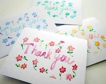 Spring Flower Thank You Notes - Floral Watercolor Card Set - Colorful Art Thank You Cards, Set of 4