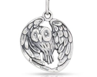 Sterling Silver Realistic Owl Pendant 22.5x15.5mm - 1pc (6422)/1