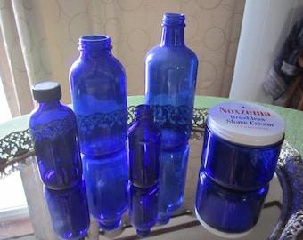 Cobalt Blue Bottle Assortment of 5 Apothecary Bud Flower Vases Noxcema Jar
