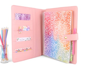 """GEM- Large Planner Cover for 8.5"""" x 11"""" Coil Bound Planners like Erin Condren deluxe, Happy Planner Big. Lots of Colors."""