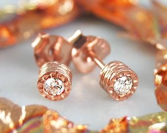 Diamond Stud Earrings, Rose Gold Studs, Fine Jewelry, Solitaire Studs, Real Diamond Earrings, Handmade Studs, Genuine Diamond Jewelry Gift