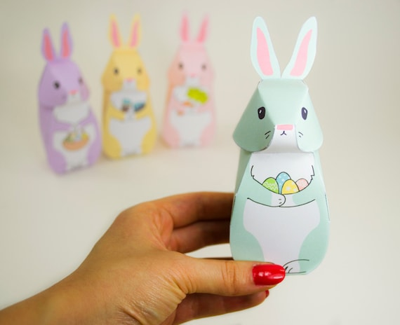 Diy printable easter bunny gift boxes easter party favor like this item negle Images