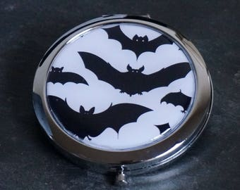 Compact Mirror Purse Mirror Pocket Mirror Handbag Mirror Makeup Mirror Bat Bats Gothic