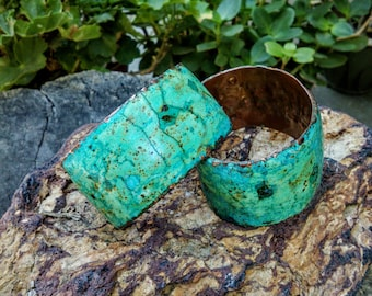 "Marbled Copper Cuff.  6.25"".  35mm Wide."