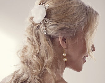Wedding Hair flower Wedding hair piece Bridal hair piece Champagne Hair Flowers Hair accessories vintage rustic wedding hair flowers