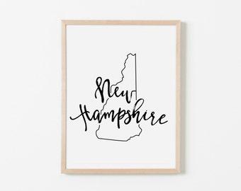New Hampshire Nursery Art. Nursery Wall Art. Nursery Prints. New Hampshire Wall Art. State Wall Art. New Hampshire Nursery.