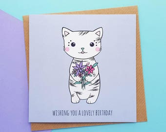 Cat Birthday Card Handmade | Cute Cat Birthday Card, Cat Cards | Kawaii Birthday Card, Kawaii Cat Card | Cards for Her, Daughter Cards