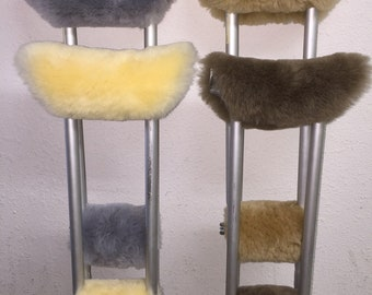 Sheepskin Deluxe Crutch Pad Covers Under arm & Hand Grip Pads Authentic Australian Merino 4 piece Set