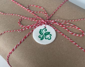 Holly holiday gift tag/tree ornament