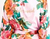 Bridesmaid Floral Robes/ Personalized Robes/ Bridal robes/ Bridesmaid Gifts/ Bridal Party Robes/ Floral Bridesmaid Robe- Secret Garden***