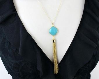 Gemstone Necklace, Long Necklace, Minimalist Necklace, Gold Necklace, Minimal necklace, Stone Necklace, Pendant, Aqua, Boho, Womens Jewelry