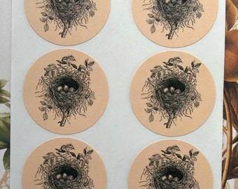 Stickers Vintage Style Bird Nest Envelope Seals Wedding Party Favor Treat Bag Sticker SP007