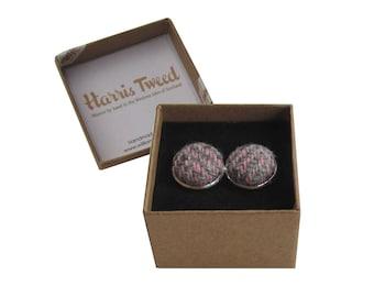 Harris Tweed Pink & Grey Herringbone Handmade Boxed Cufflinks