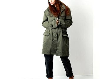 Vintage Khaki Mens Coat / Military Coat / Army Khaki Coat / Cargo Coat  / Maxi Coat / Size L